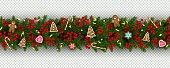 Christmas and New Year border of realistic branches of Christmas tree, holly berries, christmas cookies Festive design isolated on transparent background Vector