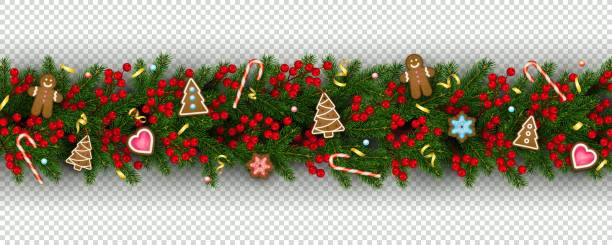 Christmas and New Year border of realistic branches of Christmas tree, holly berries, christmas cookies Christmas and New Year border of realistic branches of Christmas tree, holly berries, christmas cookies Festive design isolated on transparent background Vector decorating a cake stock illustrations
