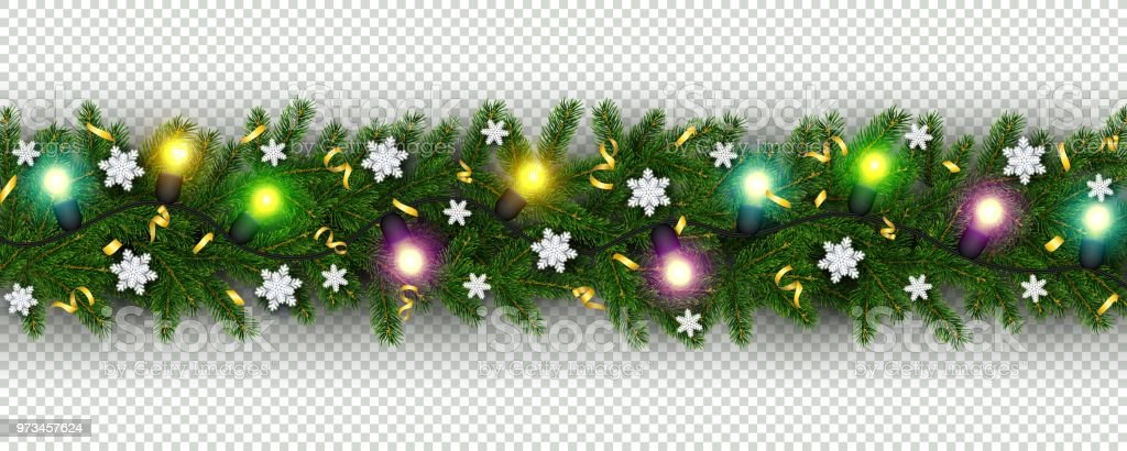 christmas and new year border of realistic branches of christmas tree garland snowflake