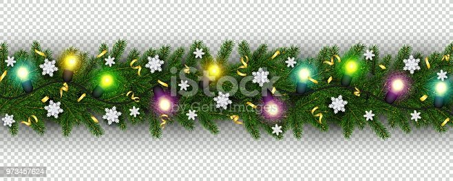 christmas and new year border of realistic branches of christmas tree garland snowflake serpentine stock vector art more images of backgrounds 973457624