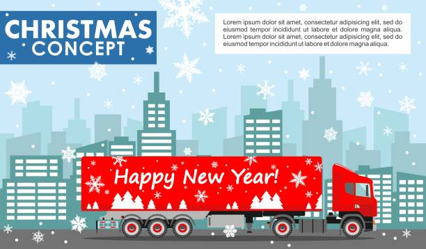 Christmas and New Year business concept. Detailed illustration of red delivery truck on background with winter cityscape in flat style. Vector illustration. vector art illustration