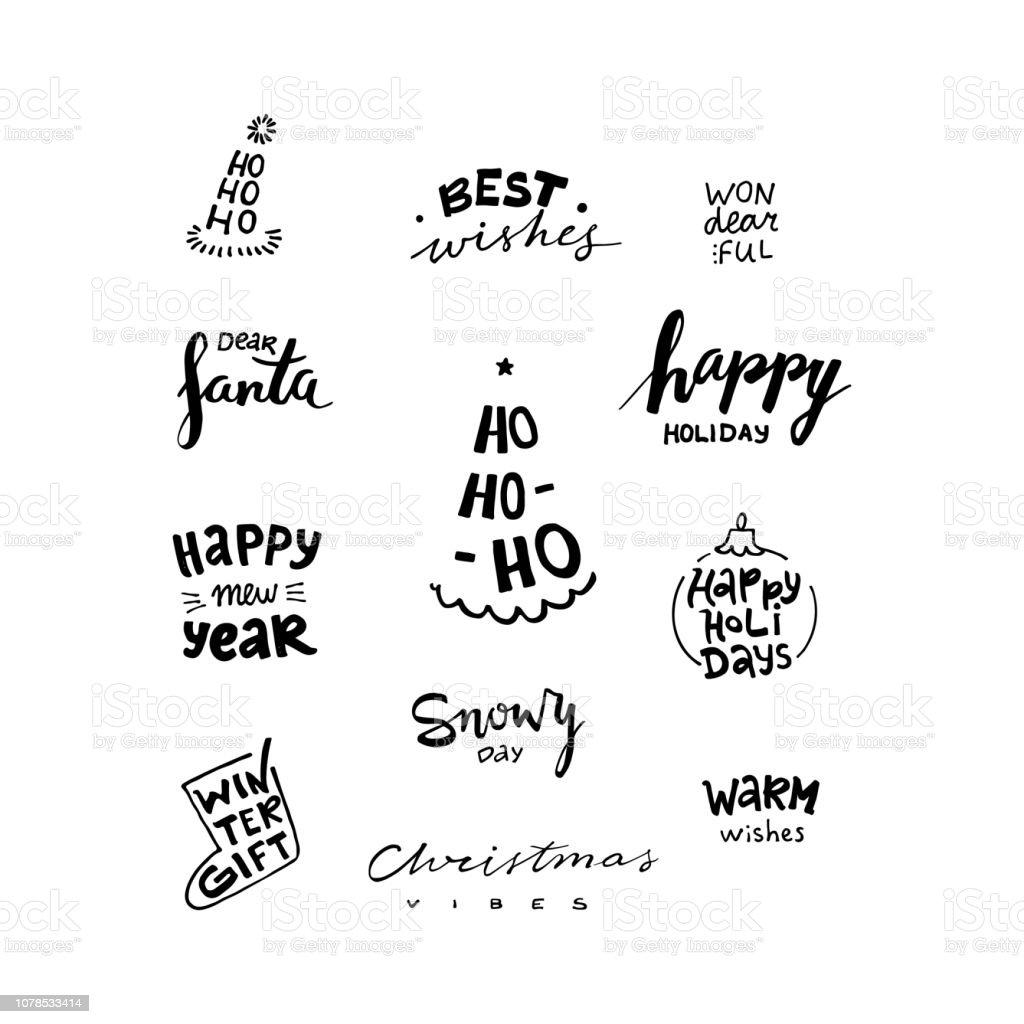 Ilustracion De Navidad Y Ano Nuevo Frases De Caligrafia Conjunto