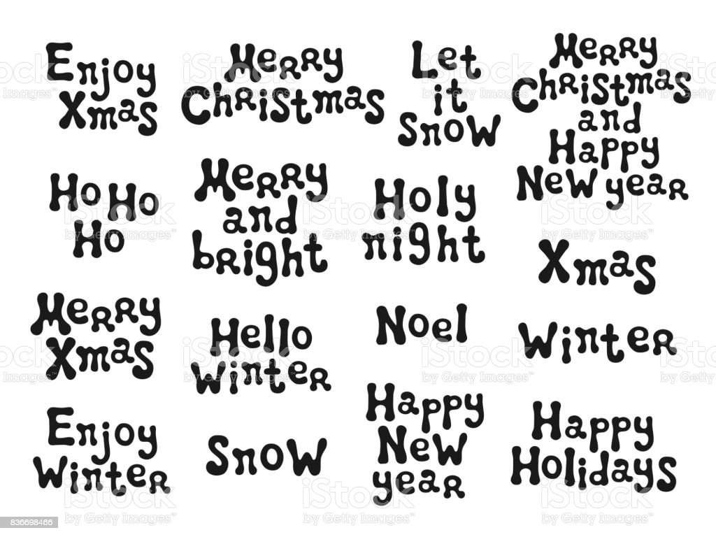 Christmas and new year calligraphy phrases set handwritten brush christmas and new year calligraphy phrases set handwritten brush seasons lettering collection xmas phrases kristyandbryce Choice Image