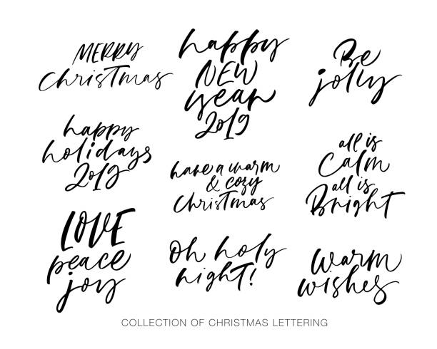 Royalty Free Hand Drawn Lettering Set With Christmas And New Year ...