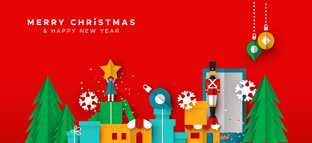 Christmas and new year card of paper toy city