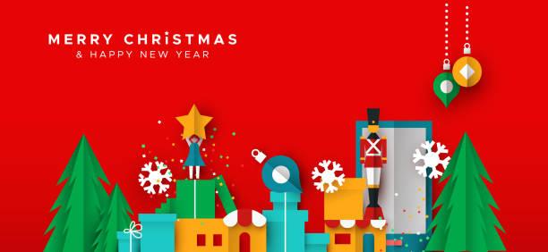 stockillustraties, clipart, cartoons en iconen met kerstmis en nieuwjaar kaart van papier speelgoed stad - christmas presents