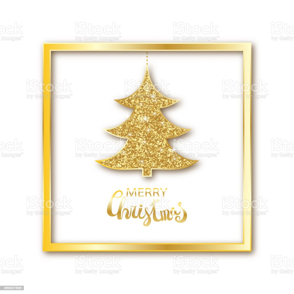 Plantilla De Tarjeta De Navidad Y Año Nuevo Abeto Dorado Árbol De ...