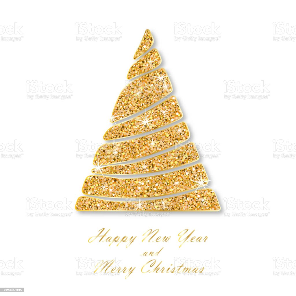 christmas and new year card template golden fir wavy sparkling abstract christmas tree with