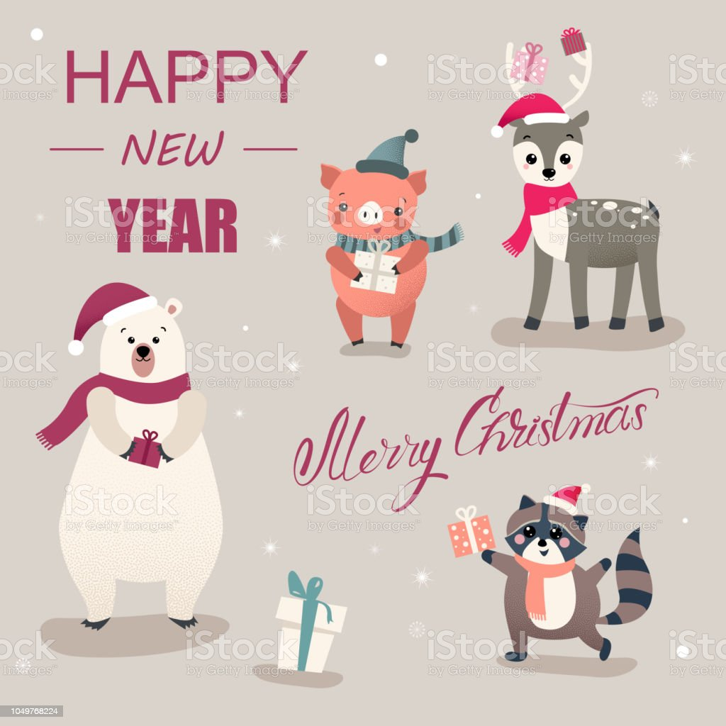 christmas and new year card with cute cartoon animals and pig royalty free christmas