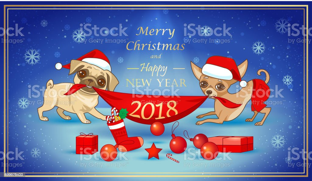 Christmas And New Year Card With Cute Dogs Stock Vector Art More