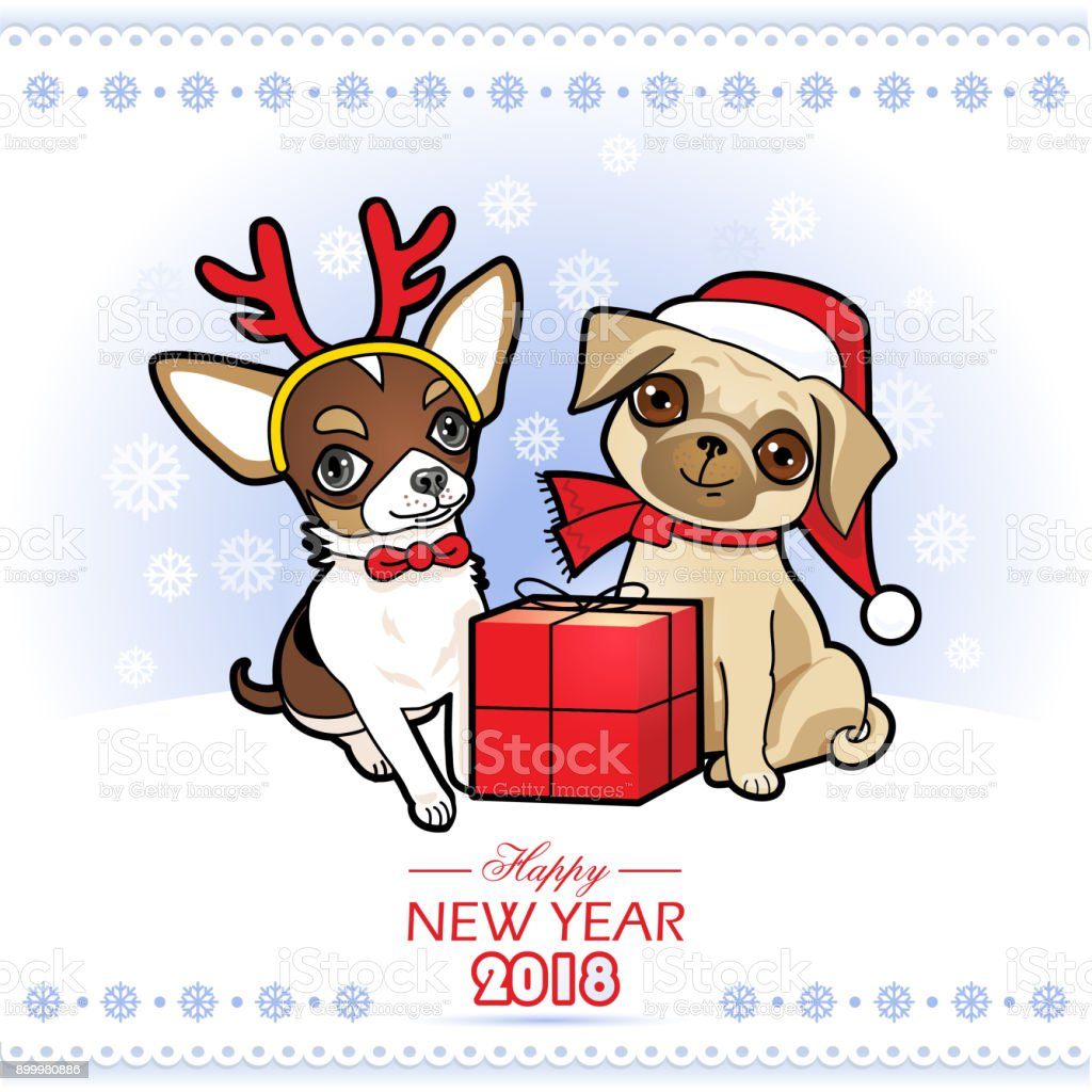 christmas and new year card with cute dogs royalty free christmas and new year