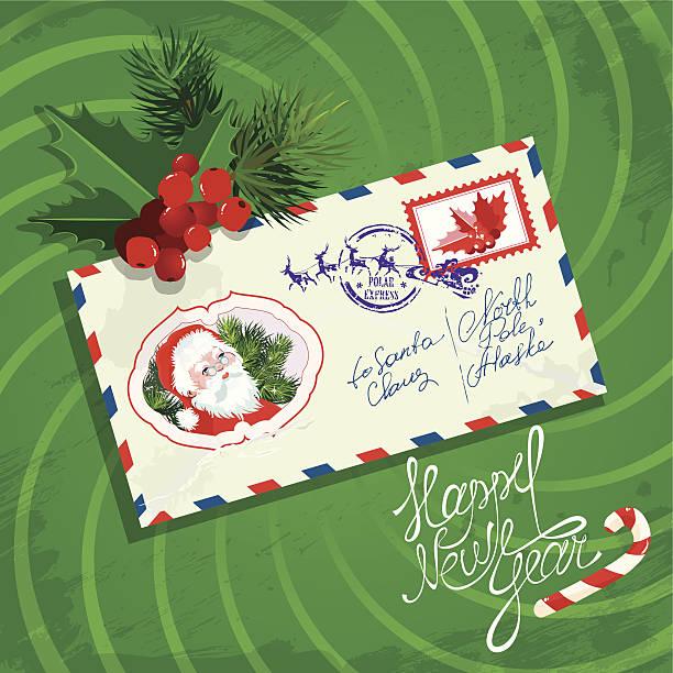 ilustrações de stock, clip art, desenhos animados e ícones de natal e ano novo cartão com envelope, holly, firtree - lian empty