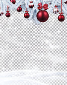 Christmas and New Year card template with fir branches, red Christmas balls, snow and blizzard. Vector transparent background.