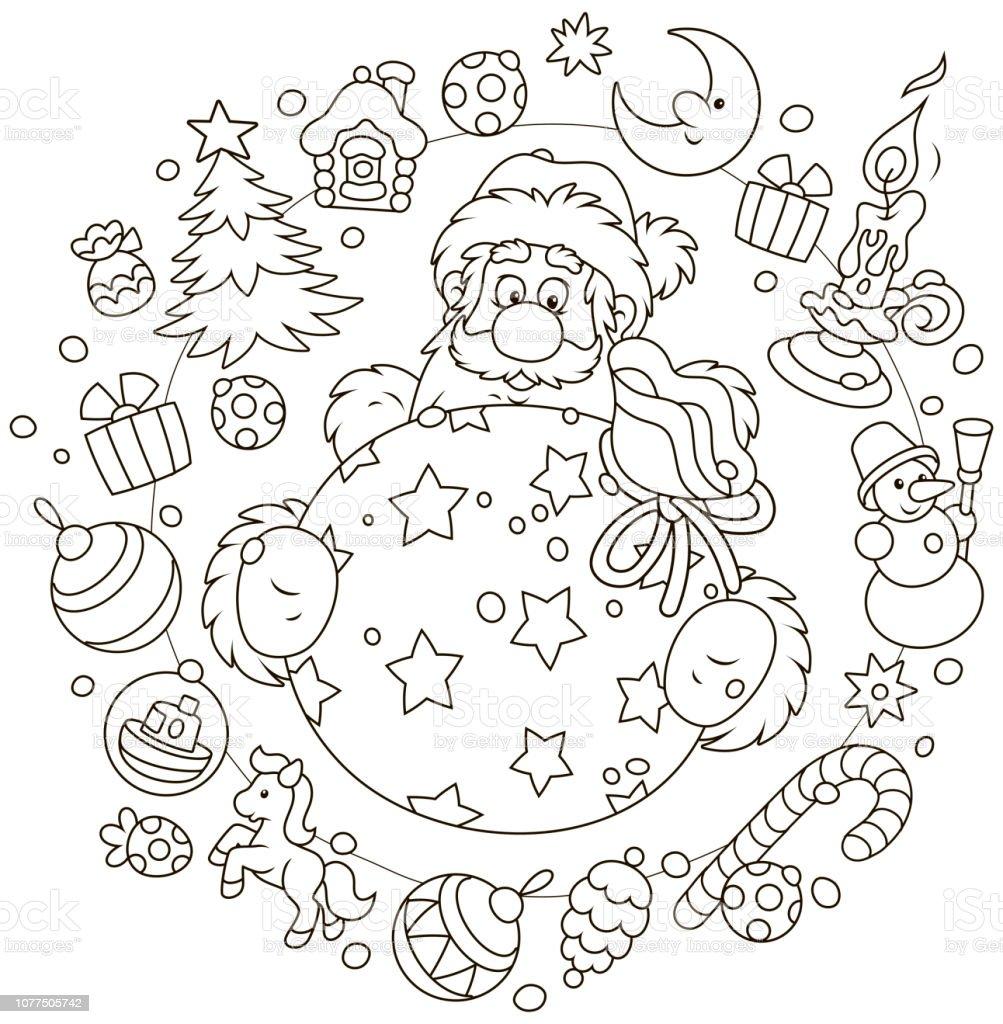 Weihnachten Und Neujahr Karte Mit Dem Weihnachtsmann Stock