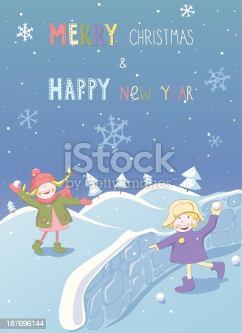 865399512istockphoto Christmas and New year card with two playing children 187696144