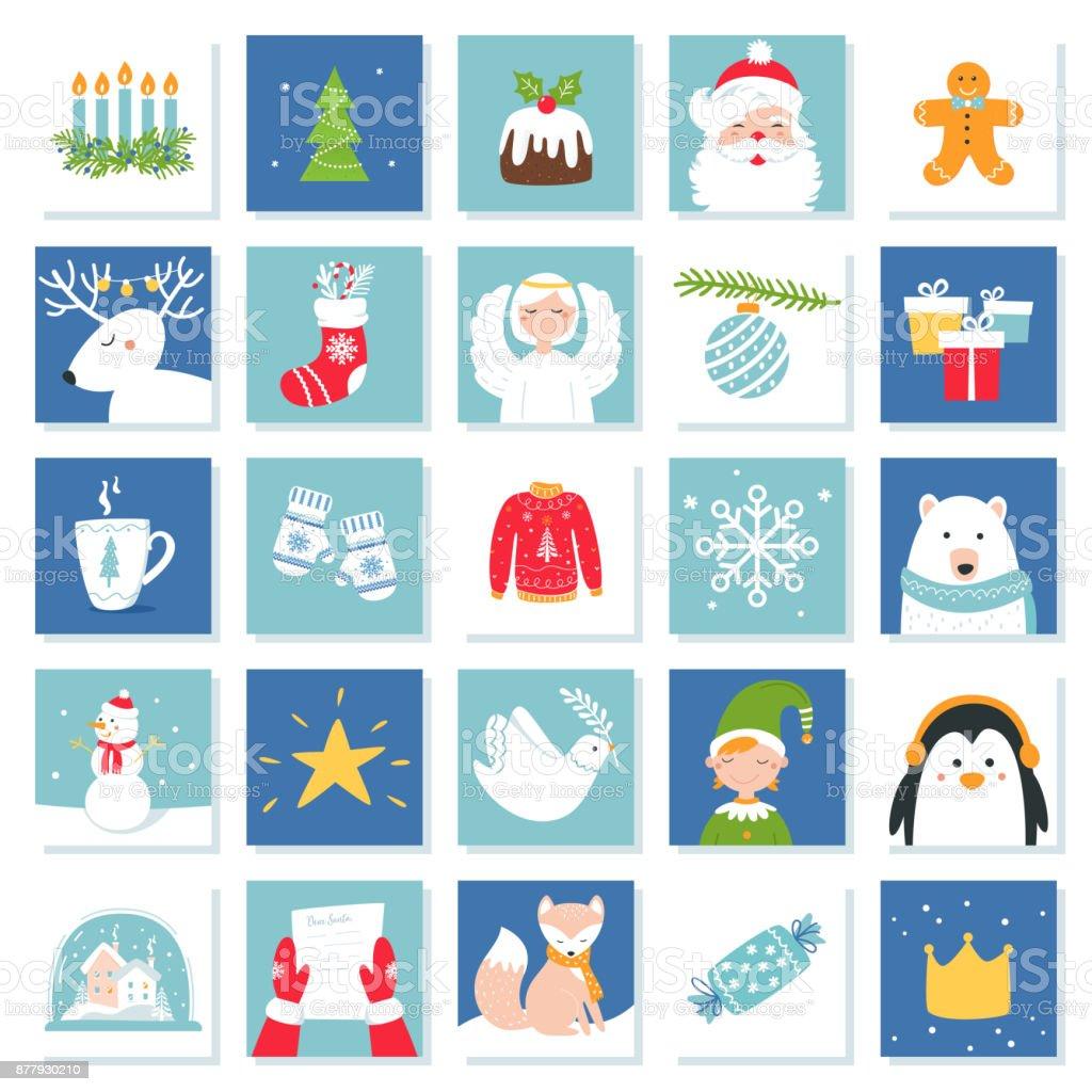 Weihnachten Und Silvester Feier Symbole. Adventskalender Oder Bingo Spiel  Karten. Vektor Set Lizenzfreies