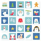 Christmas and New Year Celebration Symbols. Advent Calendar or Bingo Game Cards. Vector Set.