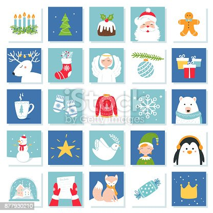 Christmas And New Year Celebration Symbols Advent Calendar Or Bingo