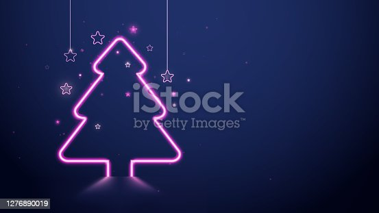 istock Christmas and New Year. Christmas tree pink neon light and stars on dark blue background. Vector illustration 1276890019