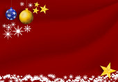 Christmas and New Year concept with winter snowflake and star light on a red fabric background. Vector illustration.