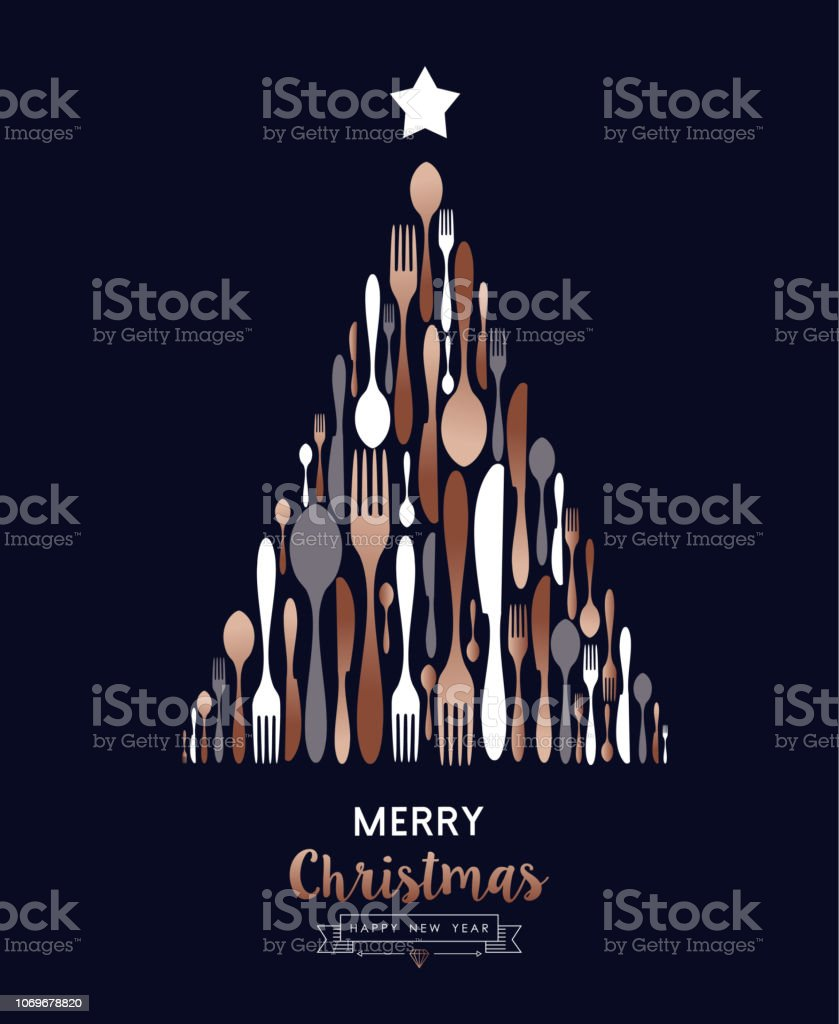 Christmas and New Year copper cutlery tree card - arte vettoriale royalty-free di Attrezzatura