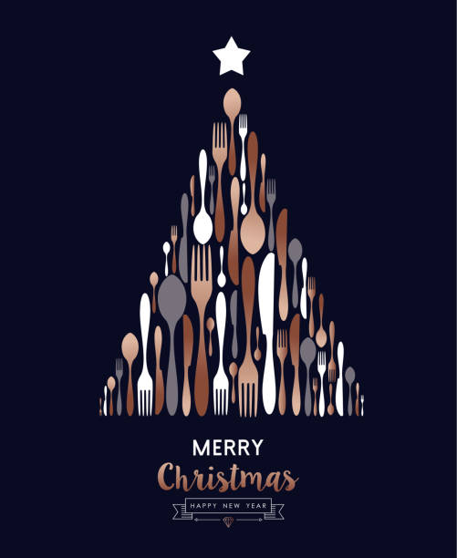 illustrazioni stock, clip art, cartoni animati e icone di tendenza di christmas and new year copper cutlery tree card - cena natale