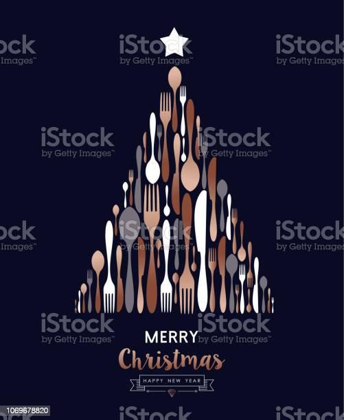 Christmas And New Year Copper Cutlery Tree Card - Immagini vettoriali stock e altre immagini di Attrezzatura