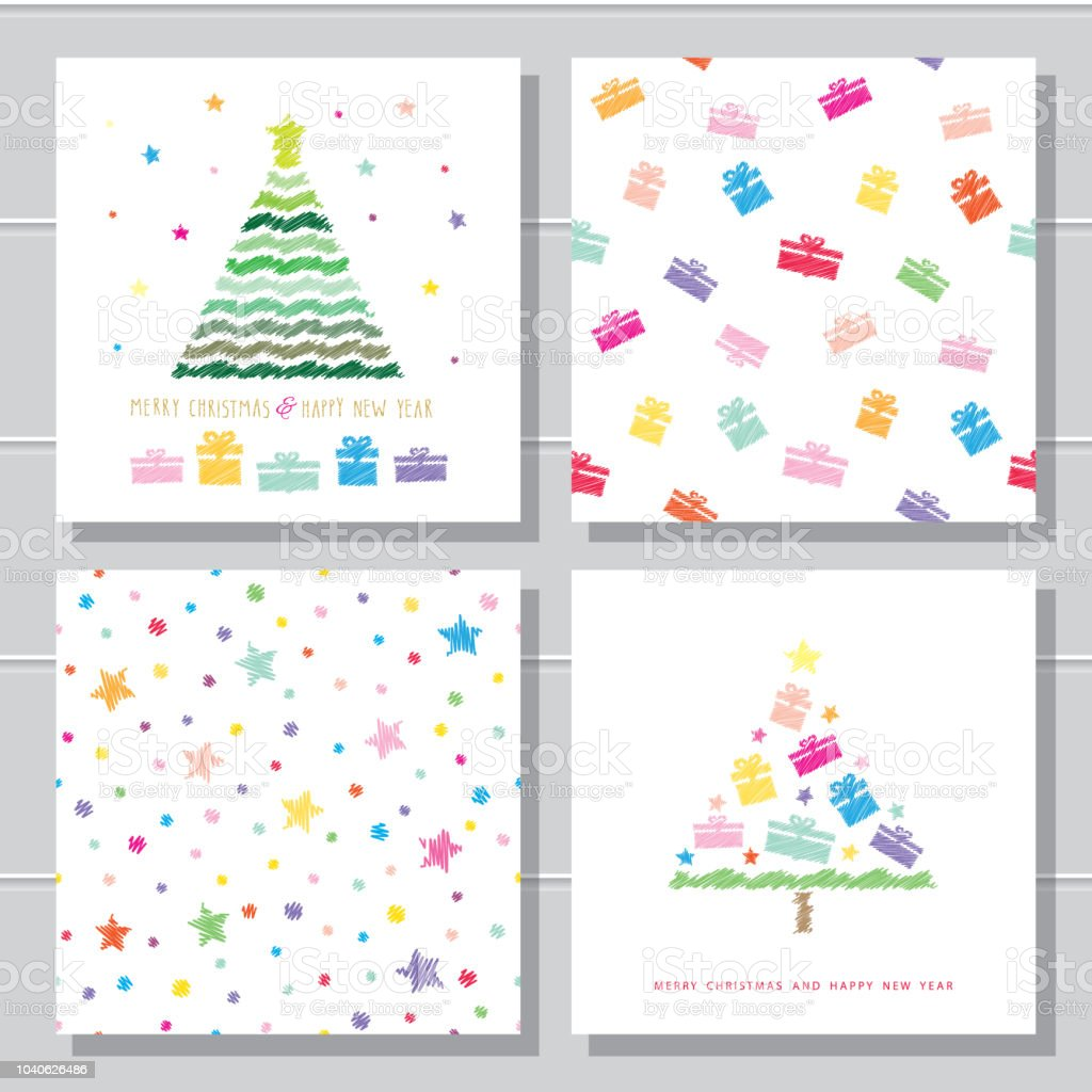 Christmas And New Year Creative Card Templates And Seamless Pattern