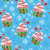 Christmas and New Year cupcakes holiday vector seamless pattern