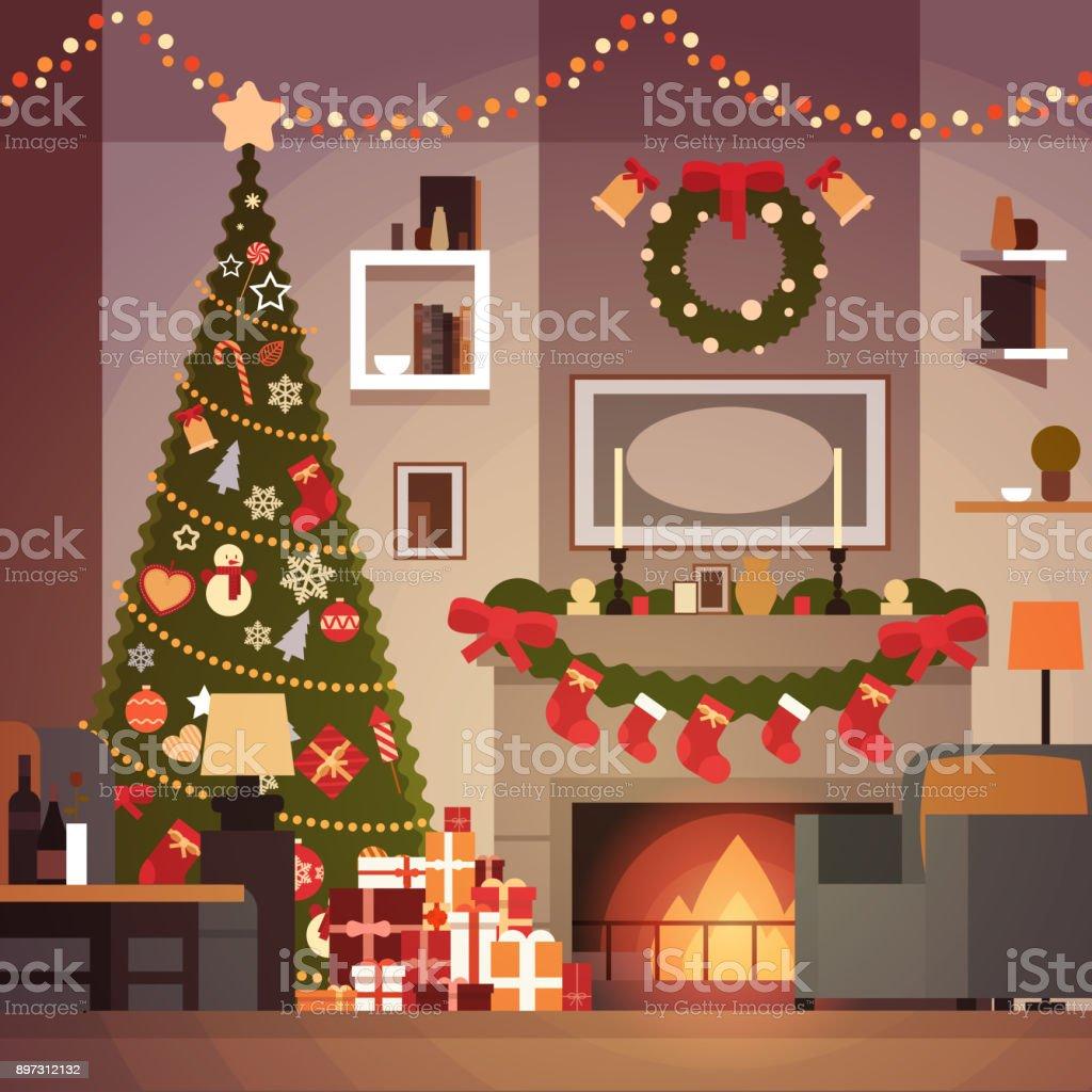 No l et nouvel an d coration de sapin de salon chemin e et int rieur de la maison de vacances de - Cheminee interieur maison ...