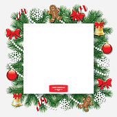 Christmas and New Year decorative background with fir branches.