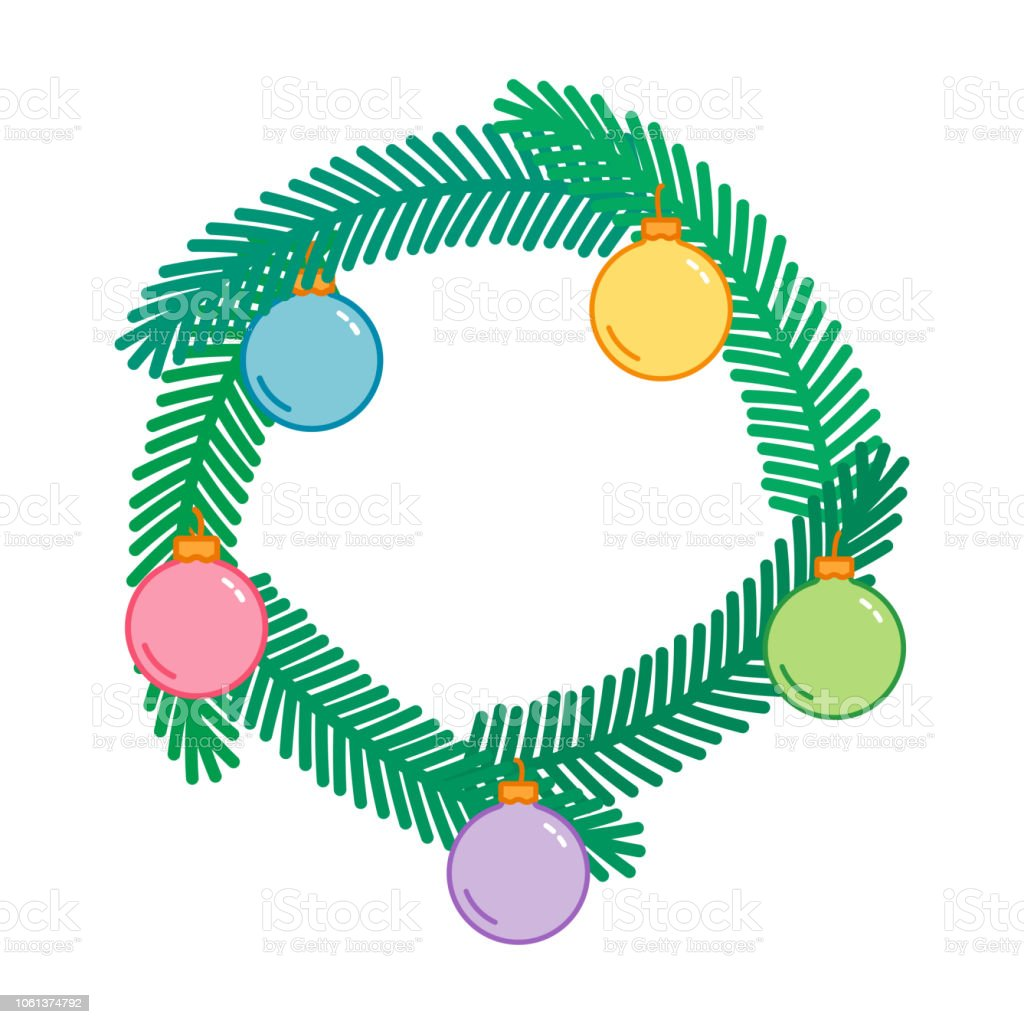 Christmas And New Year Decorative Wreath With Colorful Balls