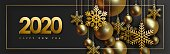 2020 Christmas and New Year design with hanging realistic golden balls and decorative snowflakes on gold chains on black background. Horizontal dark background, Vector illustration