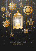 Golden Christmas lantern with burning candle inside, hanging on chain with stars and snowflakes. Golden tinsel on background. Luxury Christmas and New Year greeting card. Vector illustration.