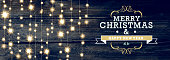 Vector Illustration of Merry Christmas and New Year invitation design with string lights. Sample text design. Easy layers for customizing. Dark blue background with string of lights.