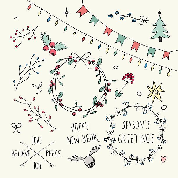 christmas and new year doodles collection - いたずら書き/手書きのフレーム点のイラスト素材/クリップアート素材/マンガ素材/アイコン素材