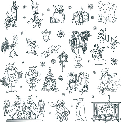 Christmas and New Year Doodles Set 2017