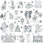 Christmas and New Year Doodles Set 2017. Vector illustration.