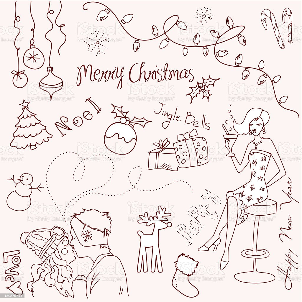 Christmas and New Year doodles royalty-free stock vector art