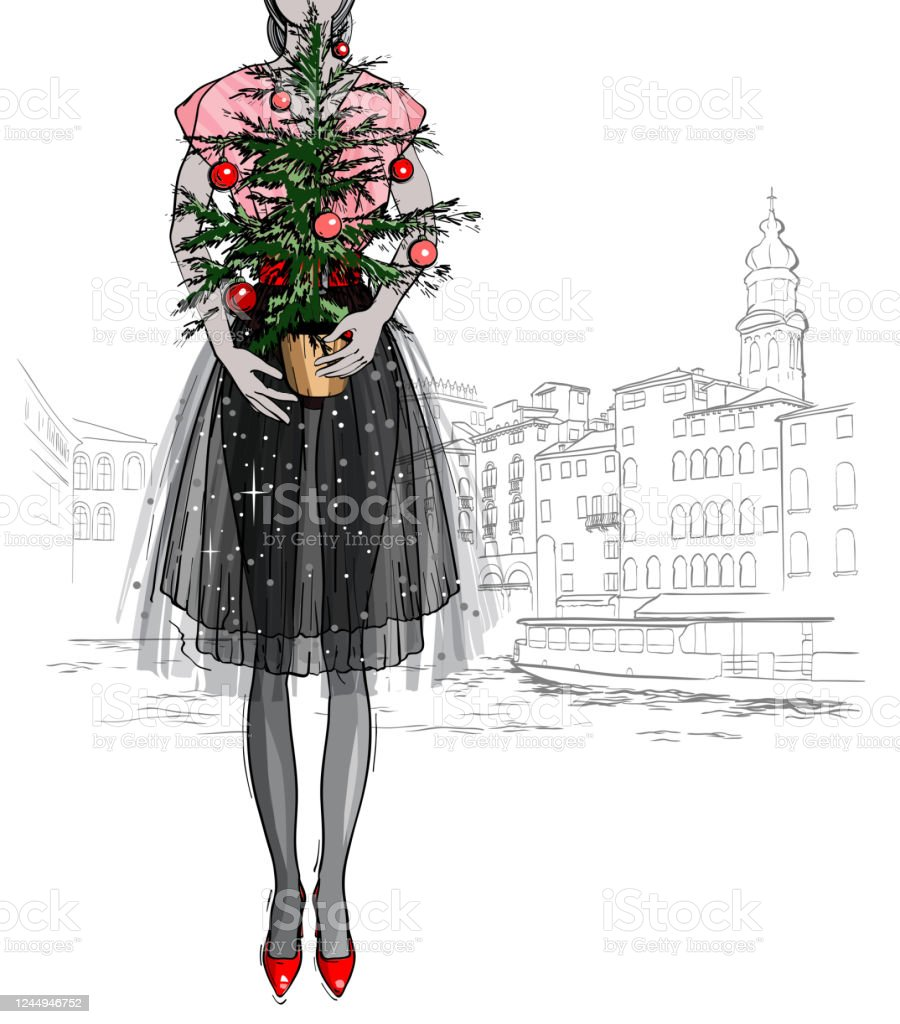 Christmas And New Year Fashion Vector Card Fashion Holidays Illustration With Christmas Tree Stock Illustration Download Image Now Istock