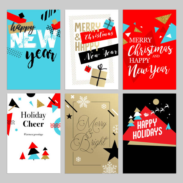 christmas and new year flat design greeting cards set. - firmenweihnachtsfeier stock-grafiken, -clipart, -cartoons und -symbole