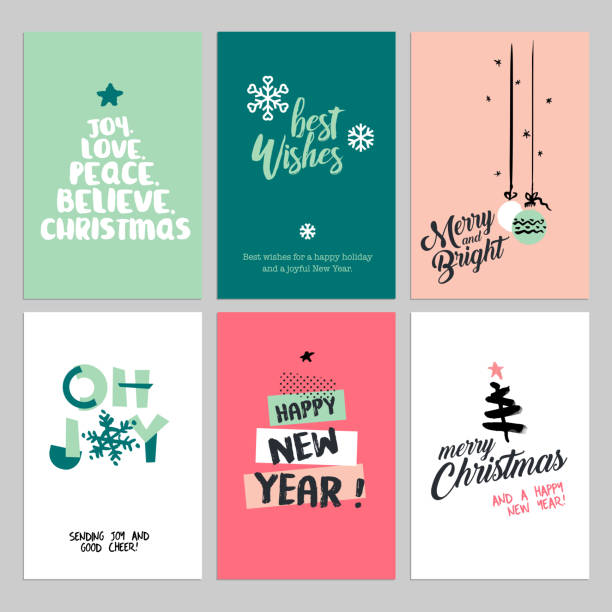 christmas and new year flat design greeting cards set - firmenweihnachtsfeier stock-grafiken, -clipart, -cartoons und -symbole