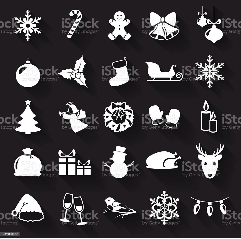 Christmas and New Year flat icons. Vector illustration. vector art illustration