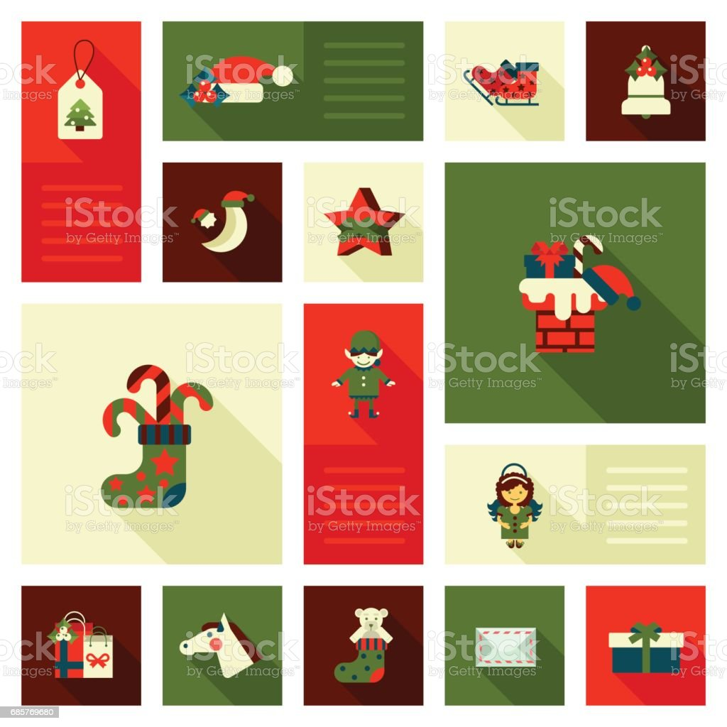 christmas and new year flat style decorations and labels icon set elf horse head