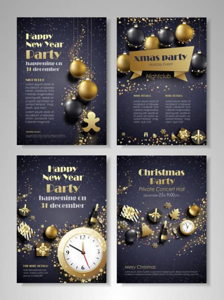 weihnachten und silvester-flyer-broschüre - firmenweihnachtsfeier stock-grafiken, -clipart, -cartoons und -symbole