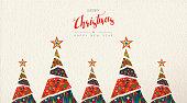 クリスマスと新年の民俗芸術グリーティング カード