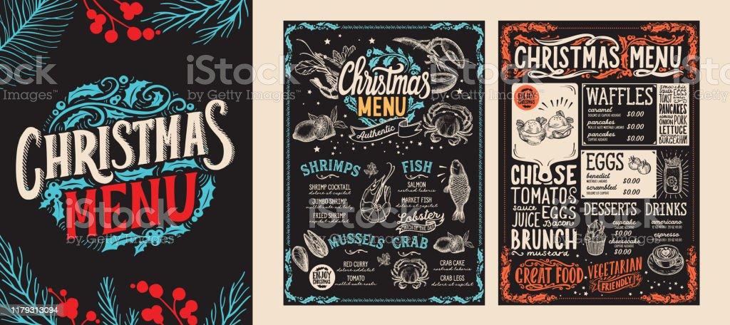 Natale e Capodanno modello di menu di cibo per ristorante. Illustrazione vettoriale per la celebrazione della cena di festa con caratteri disegnati a mano. - arte vettoriale royalty-free di Brunch