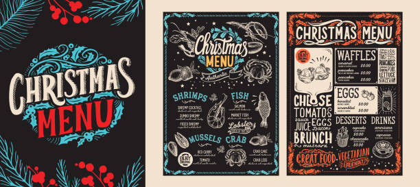 Christmas and New Year food menu template for restaurant. Vector illustration for holiday dinner celebration with hand-drawn lettering. Christmas and New Year food menu template for restaurant on chalkboard background. Vector illustration for holiday celebration. Design background with hand-drawn lettering and festive vintage graphic. cooking borders stock illustrations