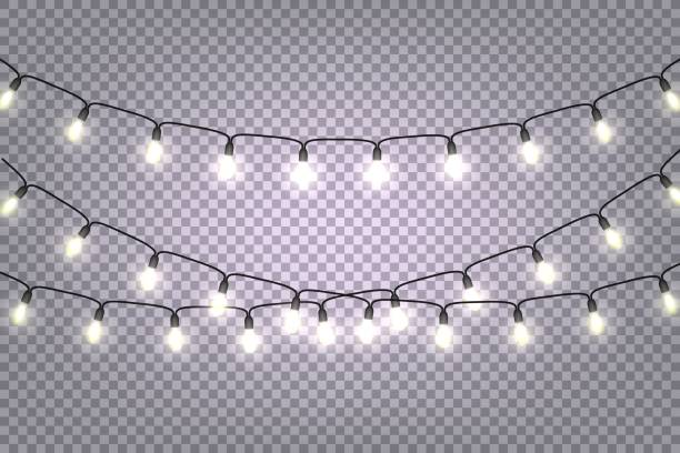 christmas and new year garlands with glowing light bulbs - wisieć stock illustrations