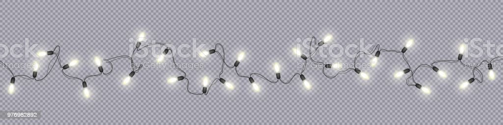 Christmas and New Year garlands with glowing light bulbs - Grafika wektorowa royalty-free (Abstrakcja)
